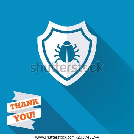 Shield sign icon. Virus protection symbol. Bug symbol. White flat icon with long shadow. Paper ribbon label with Thank you text. Vector