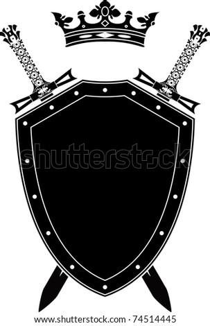 shield, swords and crown. stencil. vector illustration - stock vector