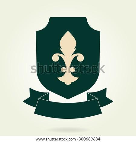 Shield symbol with blazon and ribbon. Heraldic royal design element. Vector illustration. - stock vector
