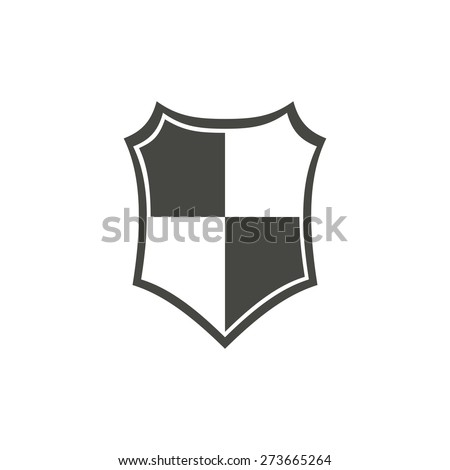 Shield - vector icon in black on a white background. - stock vector