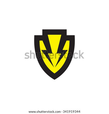 Shield vector logo template concept illustration. Protection creative sign. Two lightning symbol. Design element. - stock vector