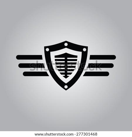 Shield & Wings Icon. - stock vector