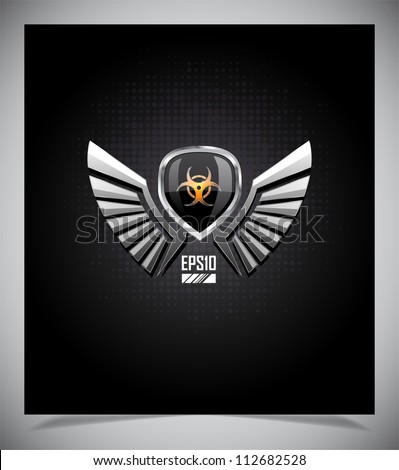 Shield with biohazard sign and wings on a dark background. - stock vector