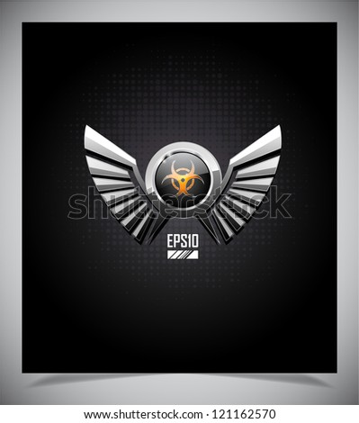 Shield with biohazard symbol and wings on a dark background. - stock vector