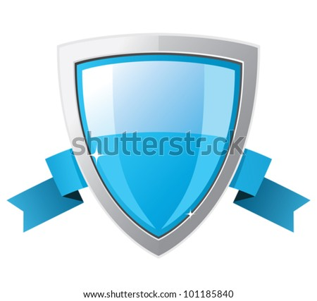 Shield with blue ribbon. - stock vector