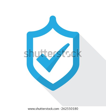 Shield with check mark. Flat icon design. Approved and trusted product concept. - stock vector
