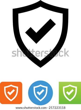 Shield with checkmark symbol for download. Vector icons for video, mobile apps, Web sites and print projects.  - stock vector