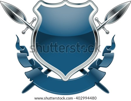 shield with crossing spears and banner - stock vector