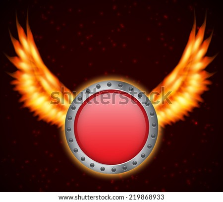 Shield with fire wings. EPS10 vector