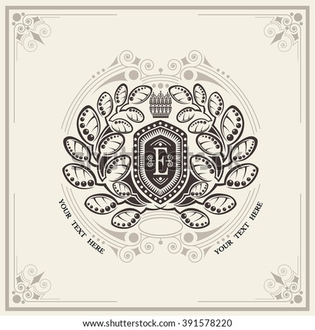 Shield with floral wreath monogram template for letter E. Elegant line ornament frame - stock vector