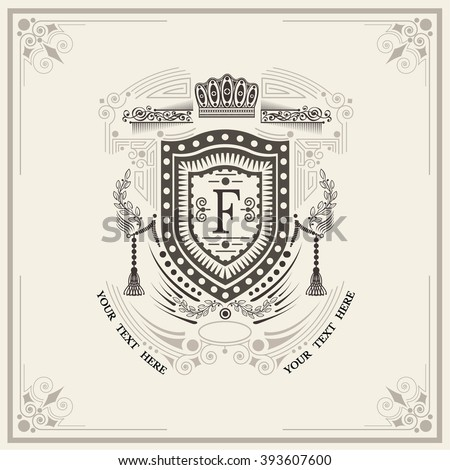 Shield with floral wreath monogram template for letter F. Elegant line ornament frame - stock vector