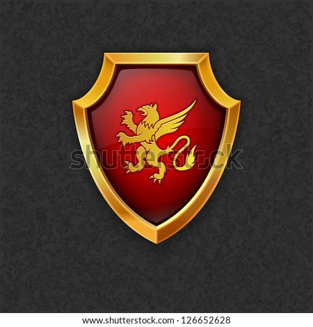 Shield with lion.Vector eps10 - stock vector