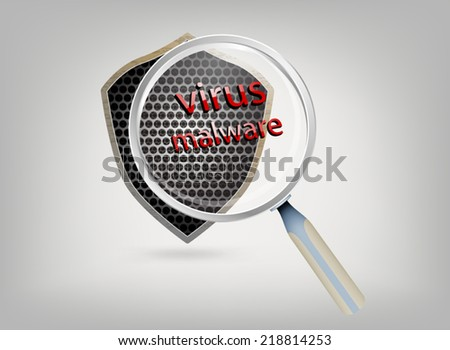 Shield with magnifier protection vector background