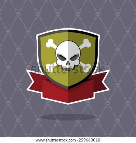 Shield with skull. pirate emblem, logo - stock vector