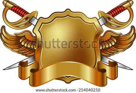 shield with sword, wings and banner - stock vector