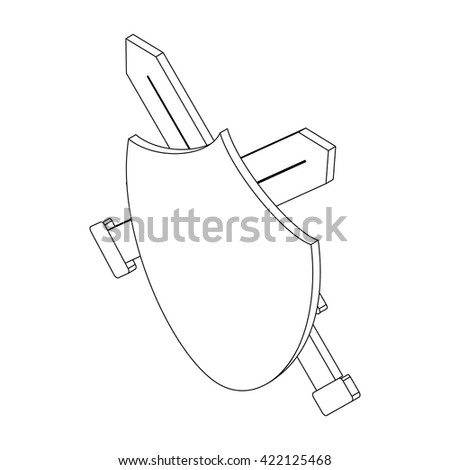 Shield with two swords, isometric 3d - stock vector