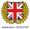 shield with united kingdom flag (emblem, sign, design) - stock vector