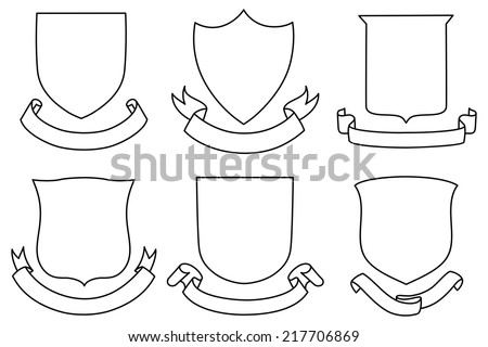 Shields Banners Set Each Copy Space Stock Vector 217706869
