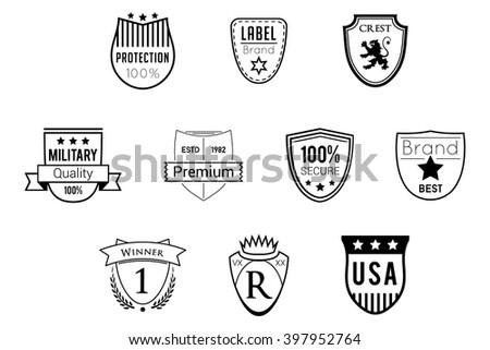 Shields Badges Black Vector Logos - stock vector