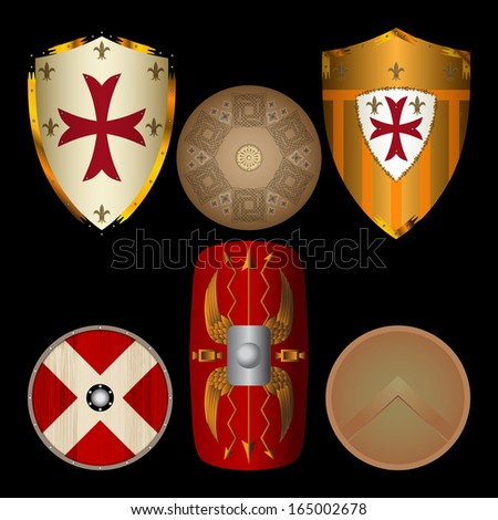 Shields from the Middle Ages black - stock vector