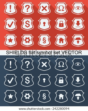 shields icons set - stock vector