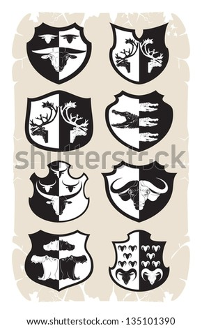 Shields with animal heads, 1, vector - stock vector