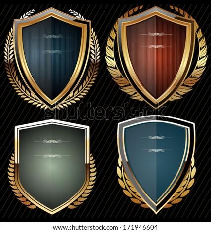 Shields with laurel wreath - stock vector