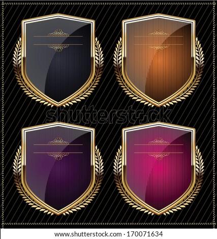 Shields with laurel wreaths - stock vector