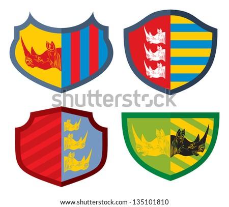 Shields with rhinoceros head, vector - stock vector