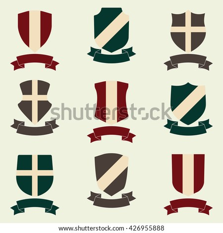 Shields with ribbon icon set. Different shield shapes collection. Heraldic royal design. Colorful vector illustration. - stock vector