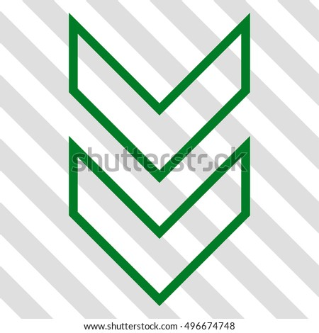 Shift Down vector icon. Image style is a flat green pictogram symbol on a hatched diagonal transparent background.