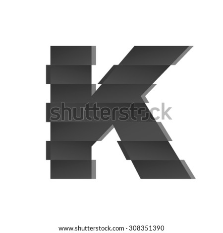Shifted font, letter K - stock vector