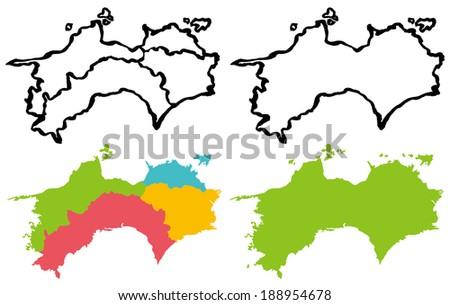 Kyushu Map Southernmost Four Main Islands Stock Vector - Japan map 4 main islands