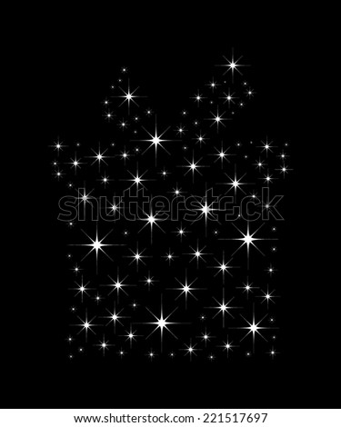 Shimmering bright stars in a shape of Christmas gift box