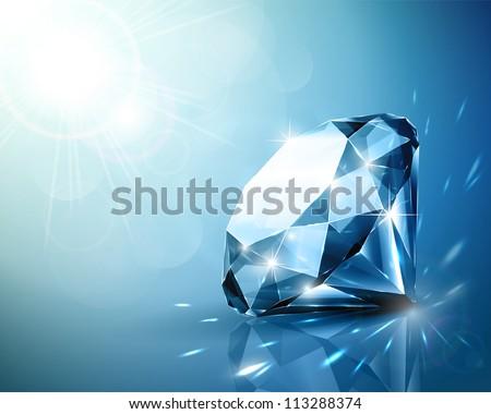 Shimmering diamond background - stock vector