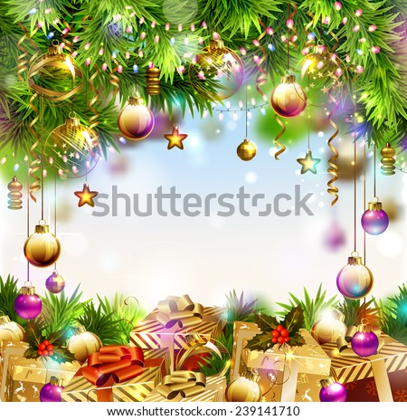 Shine Christmas background with Christmas gifts - stock vector