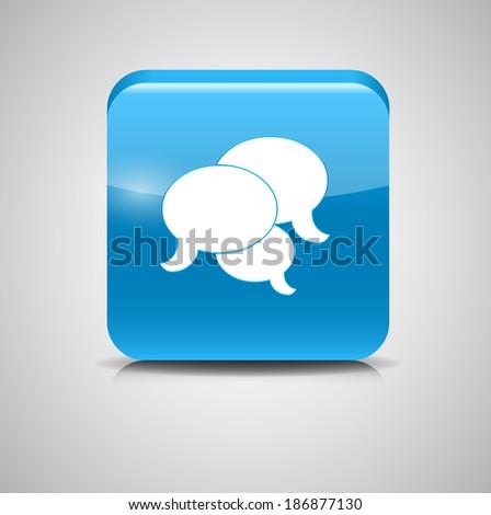 Shine Glossy Computer Icon Feedback Vector Illustration - stock vector