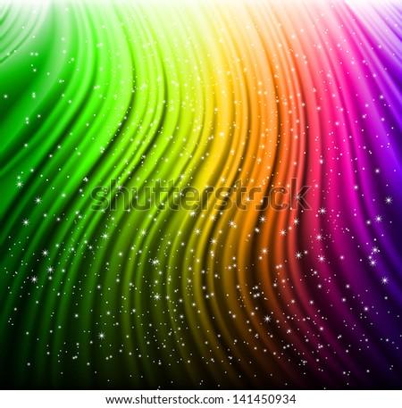 Shine rainbow wave with stars. Vector - stock vector