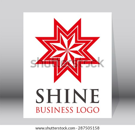 Shine red star bright light business logo element design vector symbol shape icon template for company identity abstract - stock vector