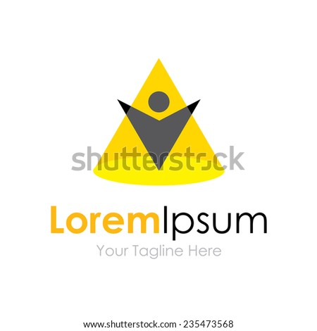 Shine under the spotlight concept elements icon logo - stock vector