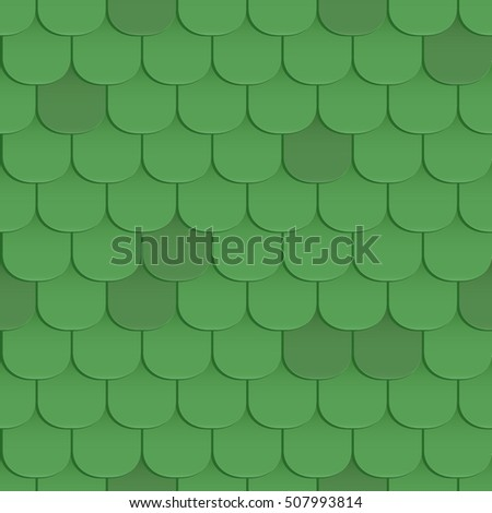 Shingles roof seamless pattern. Green color. Classic style. Vector illustration