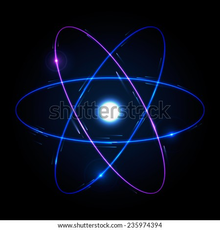 Shining atom scheme. Vector illustration, eps 10. - stock vector