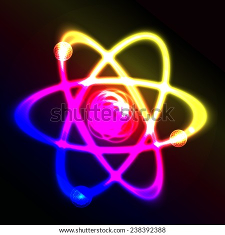 Shining atom vector scheme. Glowing object. Chemistry theme - stock vector