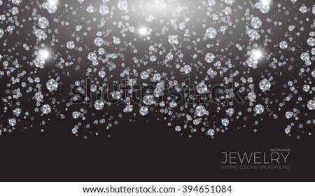 Shining Background for Jewelry Design. Falling Gems. Diamond & Luxury Space. Vector illustration. - stock vector