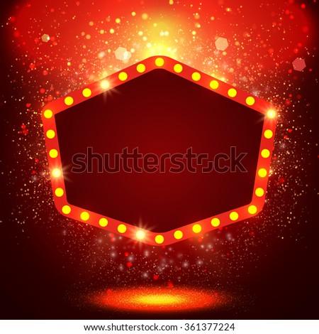 Shining background with retro casino light banner. Vector illustration - stock vector