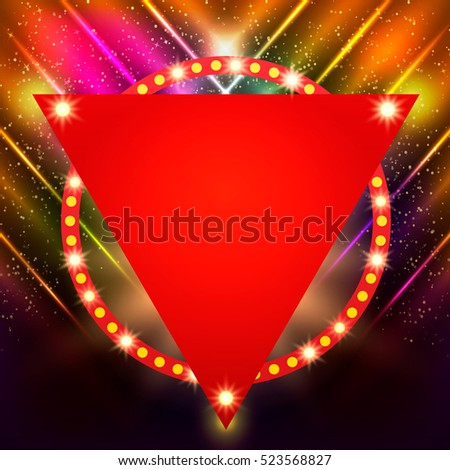 Shining background with retro light banner. Vector illustration
