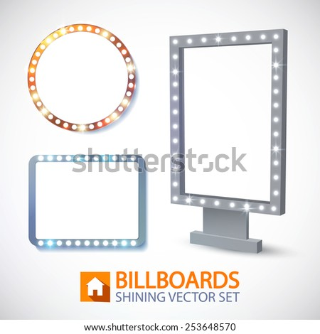 Shining banners set. Vector illustration - stock vector
