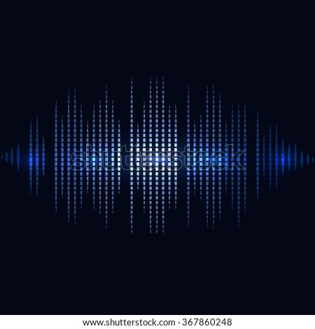 Shining blue digital equalizer background with flares.  vector illustration - stock vector