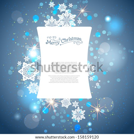 Shining blue winter background with snowflakes. Place for text.