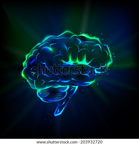 Shining brain on a dark background. Brain lit from within blue and green. Glowing brain.